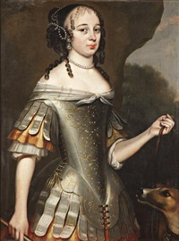 portrait de femme en diane by willem van honthorst