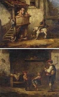 cavalier et enfants sur un balcon (+ musiciens et enfants dans un intérieur; pair) by martin domicent