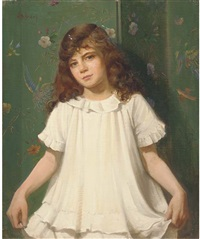 portrait of a girl, half-length, in a white dress by walter bonner gash
