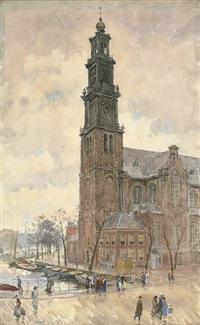 the westerkerk on the prinsengracht, amsterdam by felicien bobeldyk