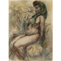 seated nude wearing a green headscarf and standing female nude from behind : a double-sided work by george grosz