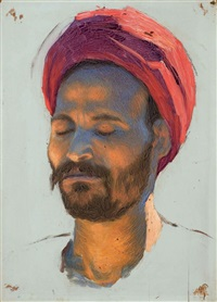 portrait d'homme au turban rouge by ludwig deutsch