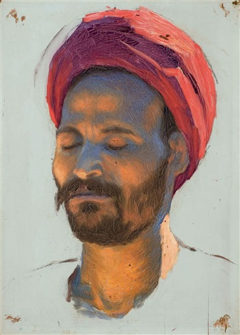 portrait dhomme au turban rouge by ludwig deutsch