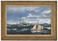 the pilot boat hvidingsø no 5 escorts a steamer 1881 by lars laurits larsen haaland
