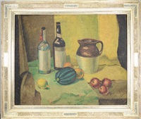 still life with pitcher, bottles and fruit by max weber