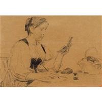 jeune bernoise assise by albert anker