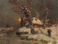 wintry river landscape by yuliy yulevich (julius) klever