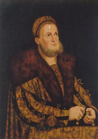 portrait of a gentleman wearing a richly embroidered gold robe trimmed with fur by franz wolfgang rohrich