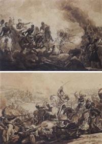 bataille de la moscova, prise de la redoute (+ 3 others; 4 works) by pierre martinet