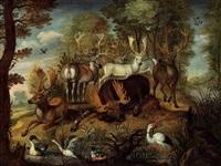 darstellung verschiedener tierarten darunter elch, dammhirsch europäischer rothirsch, karibeau, eisvogel, kranich und hirschkäfer by gysbert gillisz de hondecoeter