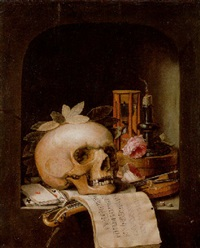 a vanitas still life with a wreathed skull, a pochette violin, a bow, a deck of cards with other objects in a niche by simon renard de saint-andre