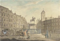 charing cross, london, showing the various buildings around the square by james miller