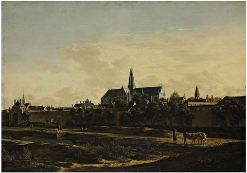 a view of haarlem from the northwest corner with the kruispoort and st bavos cathedral beyond by gerrit adriaensz berckheyde