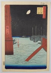 série des 100 vues célèbres d'edo. planche 4 - eitaibashi tsukudajima. petit ponton de l'île de tsukuda dans la baie d'edo, vue depuis le pont eitaibashi by ando hiroshige