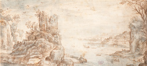 view of a ruined castle and a busy port by paul bril