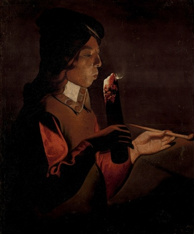 a young boy with a pipe blowing on a firebrand by georges de latour