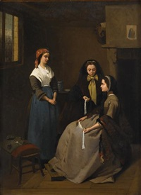 the lace sellers by charles louis verwee