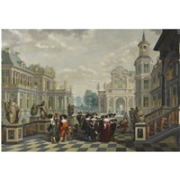 an elaborate palace courtyard with elegant company proceeding towards a great staircase, with four sculpted philosophers on pedestals behind them by dirck van delen