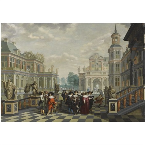 an elaborate palace courtyard with elegant company proceeding towards a great staircase with four sculpted philosophers on pedestals behind them by dirck van delen