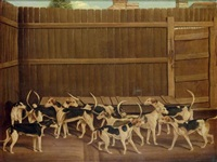 hounds in a kennel by james (of bath) loder