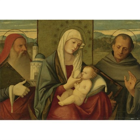 madonna and child with st jerome and st francis by girolamo da santacroce