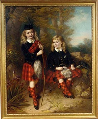 portrait of two children in macgregor tartan holding a bow and arrow, in a landscape by samuel barry godbold