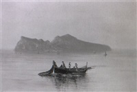 fishermen hauling in nets before capri by rosa corelli