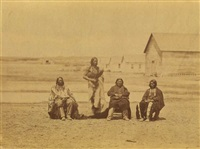 lakota and oglalla tribesmen lone horn, pipe, grass and young elk (from the fort laramie series) by alexander gardner