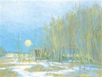 winter moonrise by orestes (rick) nicholas de grandmaison