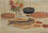 vase de fleurs, gâteaux et crabes sur une table by louis thevenet