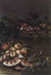 natura morta/früchtestilleben mit blumenranken by aniello ascione