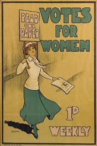 votes for women (poster) by posters: advertising