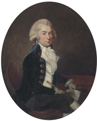 portrait of a gentleman, seated small three-quarter-length, in a blue coat and white waistcoat by francis alleyne
