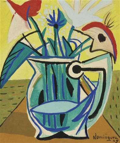 fleurs dans un vase by oscar domínguez