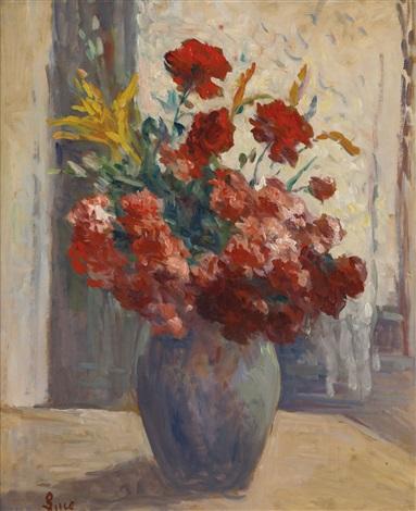 bouquet de fleurs dans un vase by maximilien luce