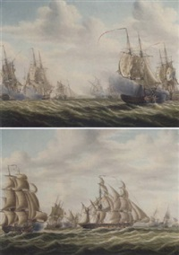 engagement between french and english frigates (the battle of algeciras?) by engel hoogerheyden