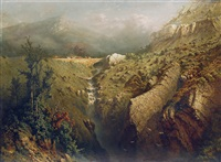 mountain landscape with waterfall by eugen krüger