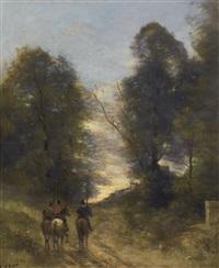cavaliers gaulois dans un paysage by jean-baptiste-camille corot