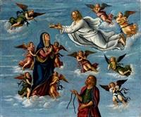 vergine assunta in cielo tra angeli musicanti con cristo che la incorona, e san tommaso by girolamo da santacroce