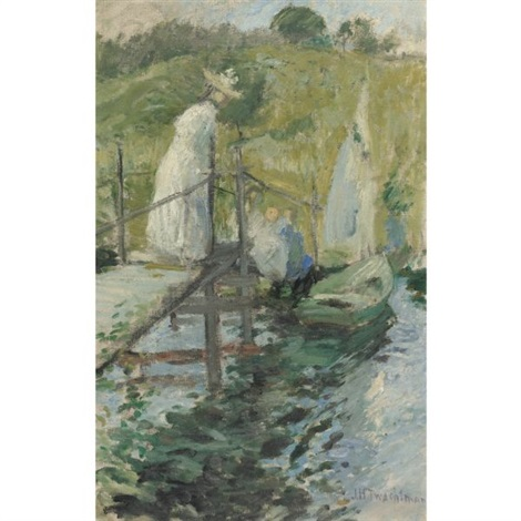 summer afternoon figures on a bridge by john henry twachtman