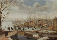 a winter landscape with skaters on a frozen river near a village and figures on a bridge by anthonie van stralen