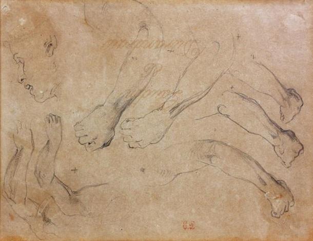 études de mains et de visage study by eugène delacroix