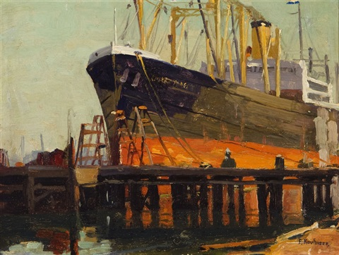 ship in los angeles harbor by ferdinand kaufmann