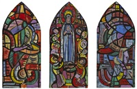 cartoon for pentecost window, blackrock college, county dublin (triptych) by evie hone
