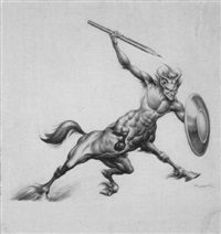 charging satyr with pencil by burne hogarth