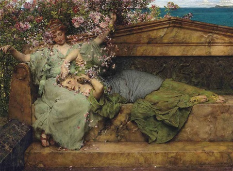 in a rose garden by sir lawrence alma tadema