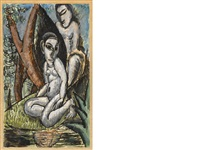 two figures in a landscape by max weber