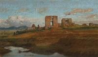 vue des ruines de la ville des quentilli, campagne de rome by felix-hippolyte lanoue