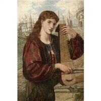 girl with a psaltery by henry treffry dunn
