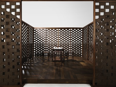 tea melody a rare tea ceremony space and walnut table set 茶韵 自在雅室品茗空间 by shang xia